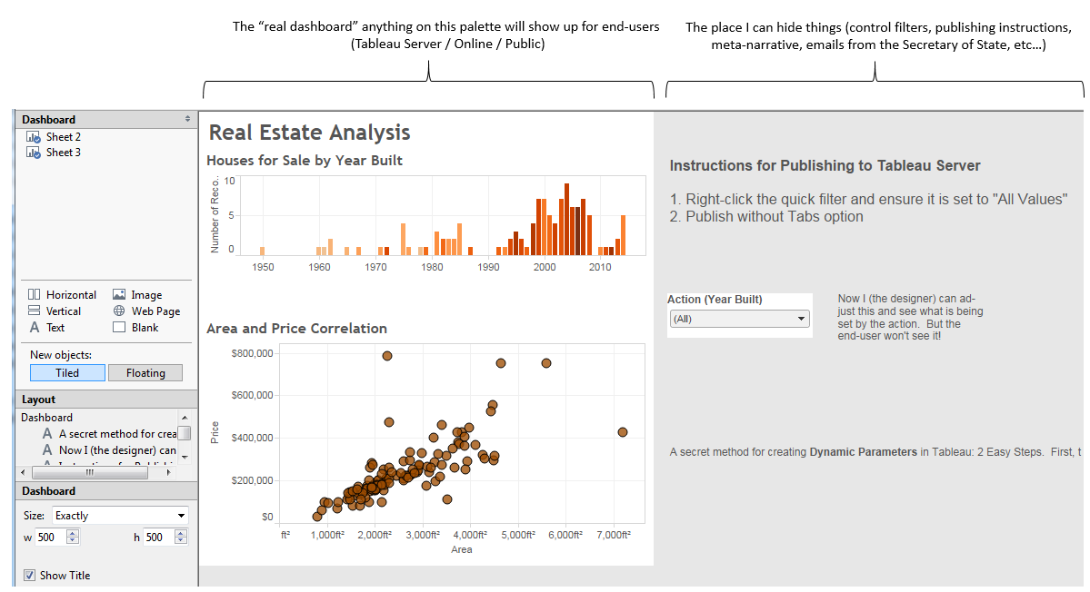 The secret place to hide things on a Tableau Dashboard