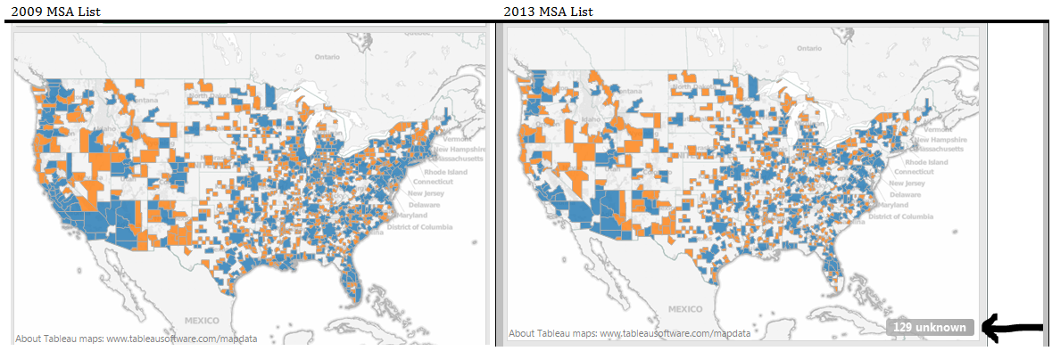 Metropolitan Statistical Areas MSAs In Tableau VizPainter - Us msa map