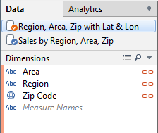 We can blend on Area, Region, and/or Zip Code to control the level of detail.  The AVG Lat and Lon from this data source will give us the geographic center of the level of detail in the blend.