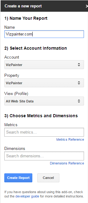 Create Google Analytics Report