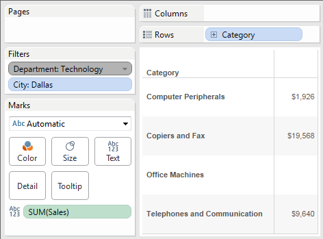 When the Department filter is added to the context, only categories within that department are shown.  However, they are shown even if other filters would normally exclude them.