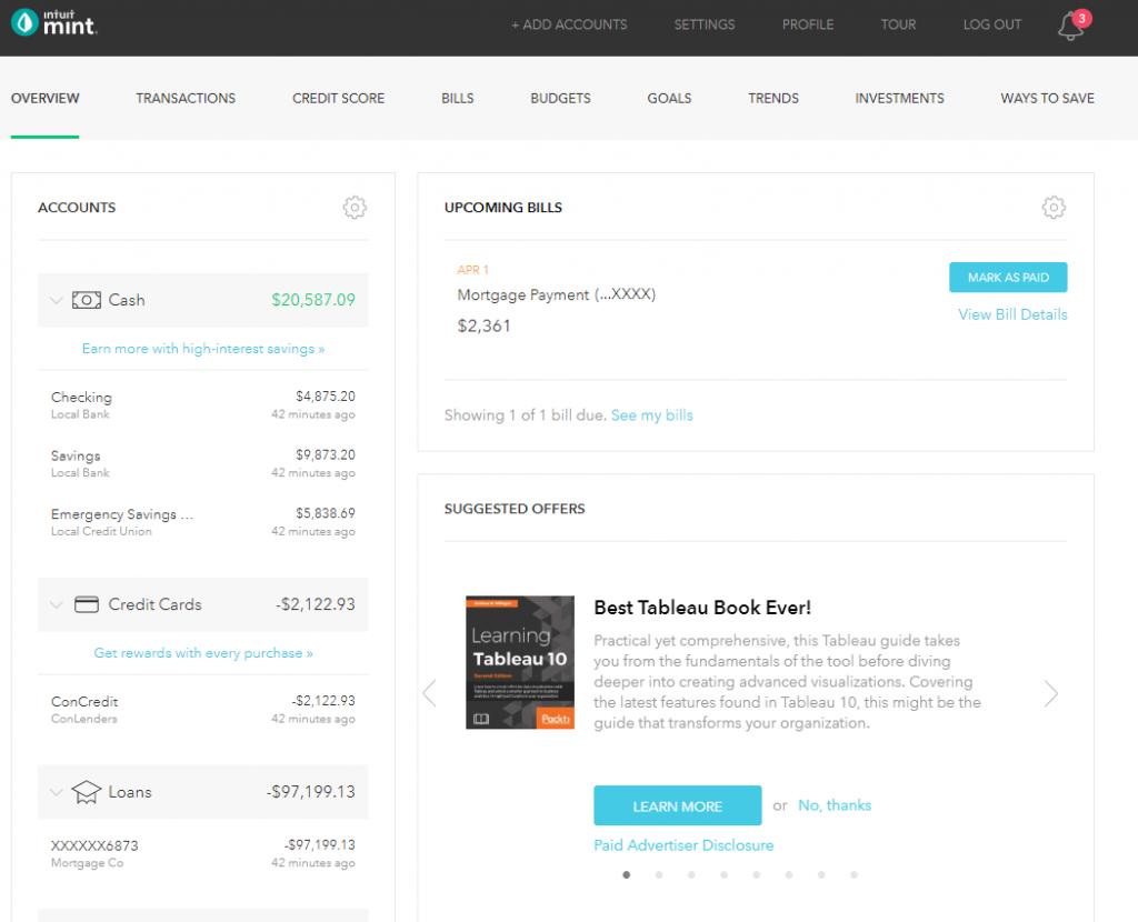 Mint Home Screen showing account balances
