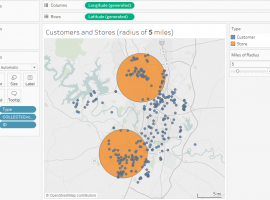 Customers and Stores with exact distance radius