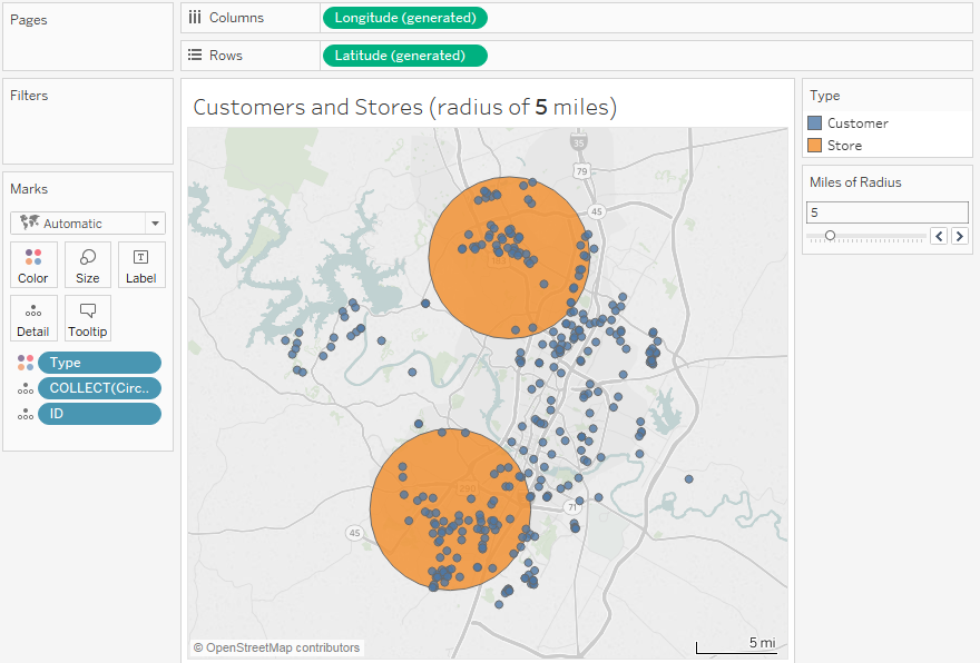 Draw circles with exact distance radius on maps in Tableau