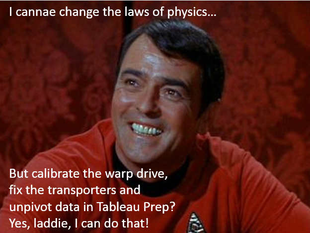 Scotty can unpivot in Tableau Prep