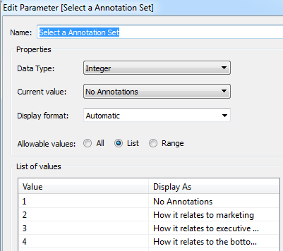 Parameter with 4 options