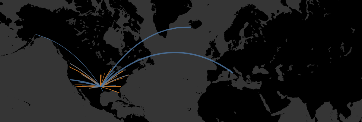 Great Circles & Curved Flight Paths: Tableau & SQL Server Geospatial
