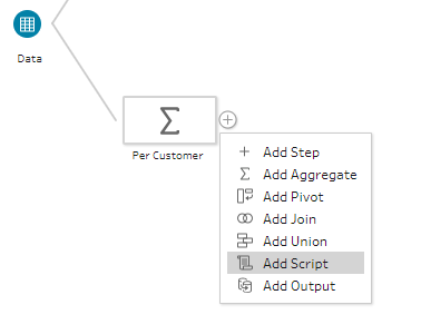 Adding a Script Step in Tableau Prep