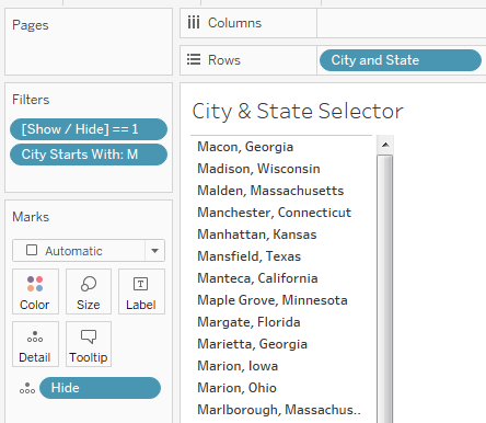 View containing the dynamic parameter values - here all the city/state combinations are displayed so they can be selected as the values of the dynamic parameter  in Tableau