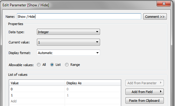 Show / Hide parameter in Tableau